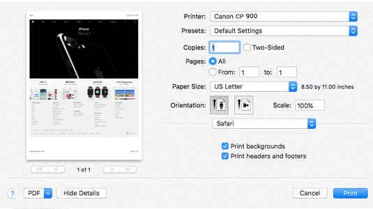 How to print from laptop to canon selphy cp900