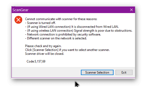 Cannot Communicate With Scanner