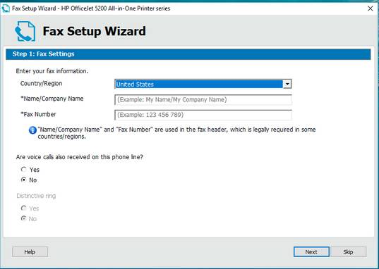 enable fax setup feature