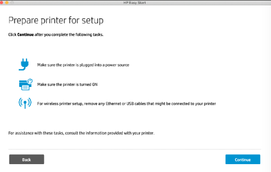open Prepare printer for setup window